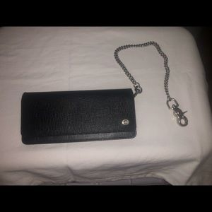 Men's Coach textured leather chain wallet
